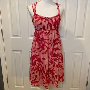 David's Bridal pink and red strapped  dress 6.